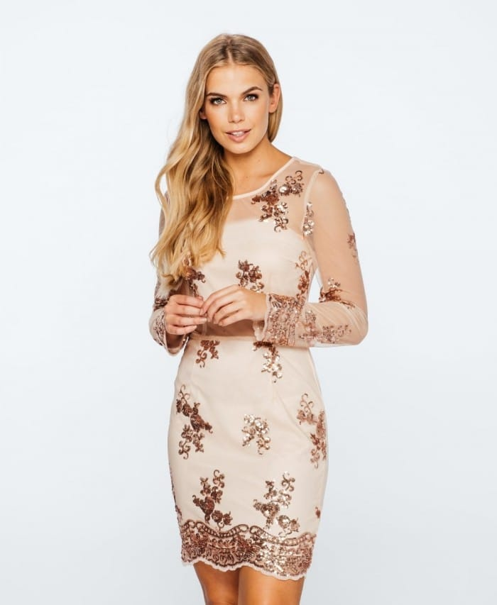 Patterned Sequin Sheer Sleeve Dress - Parisian Wholesale