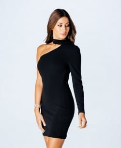 Parisian Wholesale Black Choker Neck Asymmetric Dress - MTV VMAs 2016