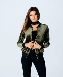 Parisian Wholesale Green Velvet Bomber Jacket