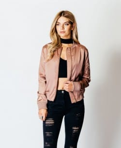 Parisian Wholesale Pink Satin Bomber Jacet