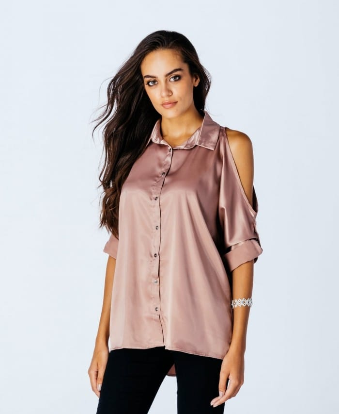 Parisian Wholesale Pink Satin Cold Shoulder Shirt