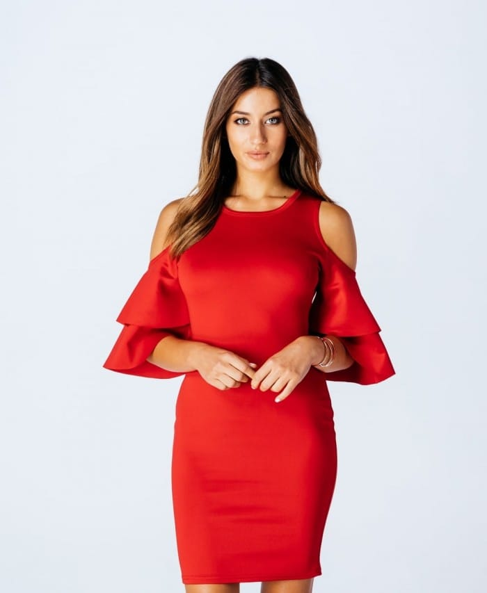Parisian Wholesale Red Cold Shoulder Double Tier Ruffle Sleeve Dress