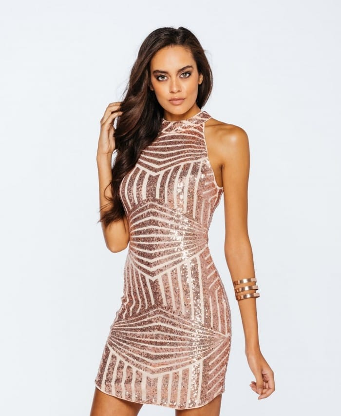 Patterned Sequin Column Dress - Parisian Wholesale