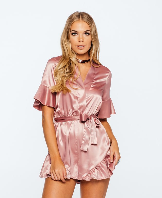 Pink Satin Ruffle Bell Sleeve Playsuit NYFW SS17 - Parisian Wholesale