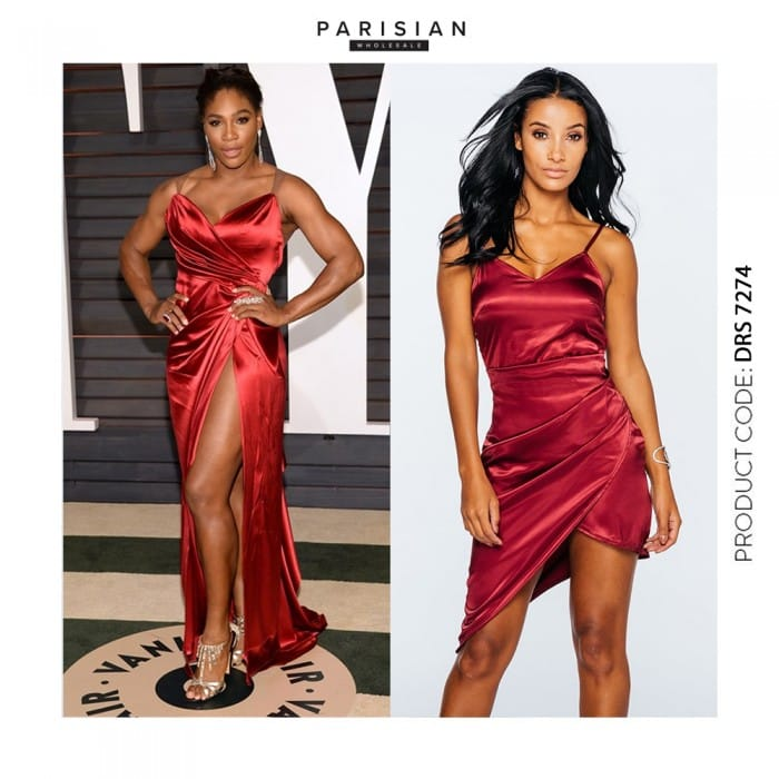 Serena Williams USOpen Oscars 2016 Red Satin Dress - Parisian Wholesale