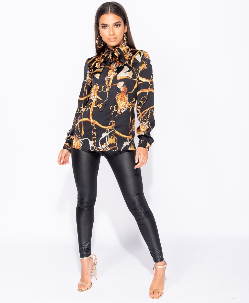 great prices price remains stable rational construction Abstract Chain Print Pussy Bow Tie Long Sleeve Blouse