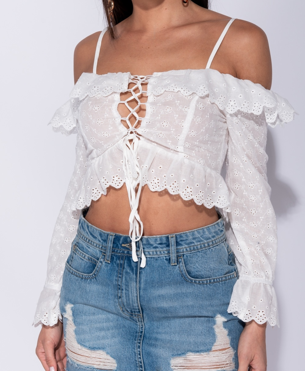 9bb3a140f1b Wholesale Broderie Anglaise Lace Tie Front Frill Trim Crop Top ...
