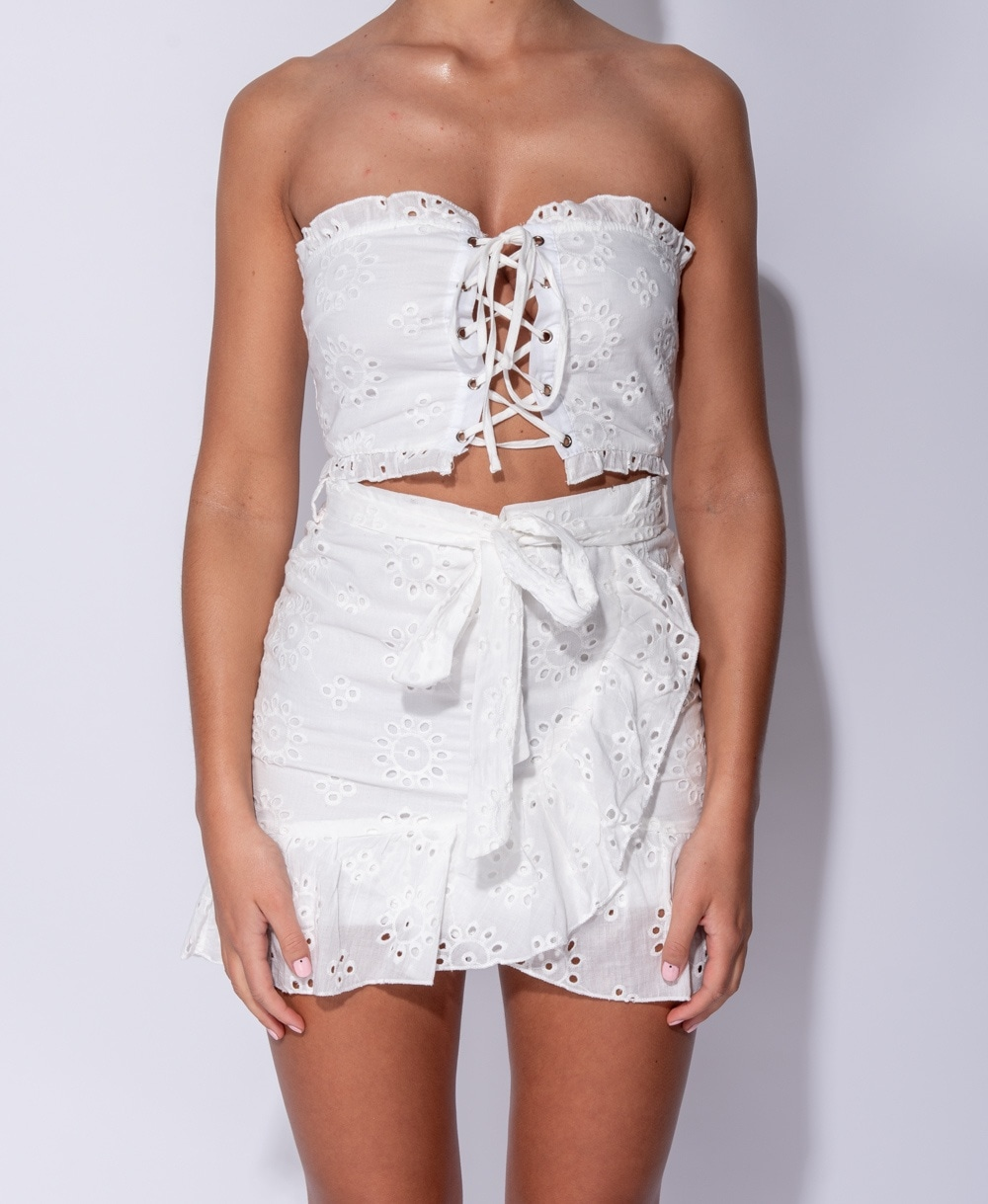 f19079b43d795 Broderie Anglaise Lace Up Detail Bandeau Crop Top   Frill Detail Skirt Co  Ord Set