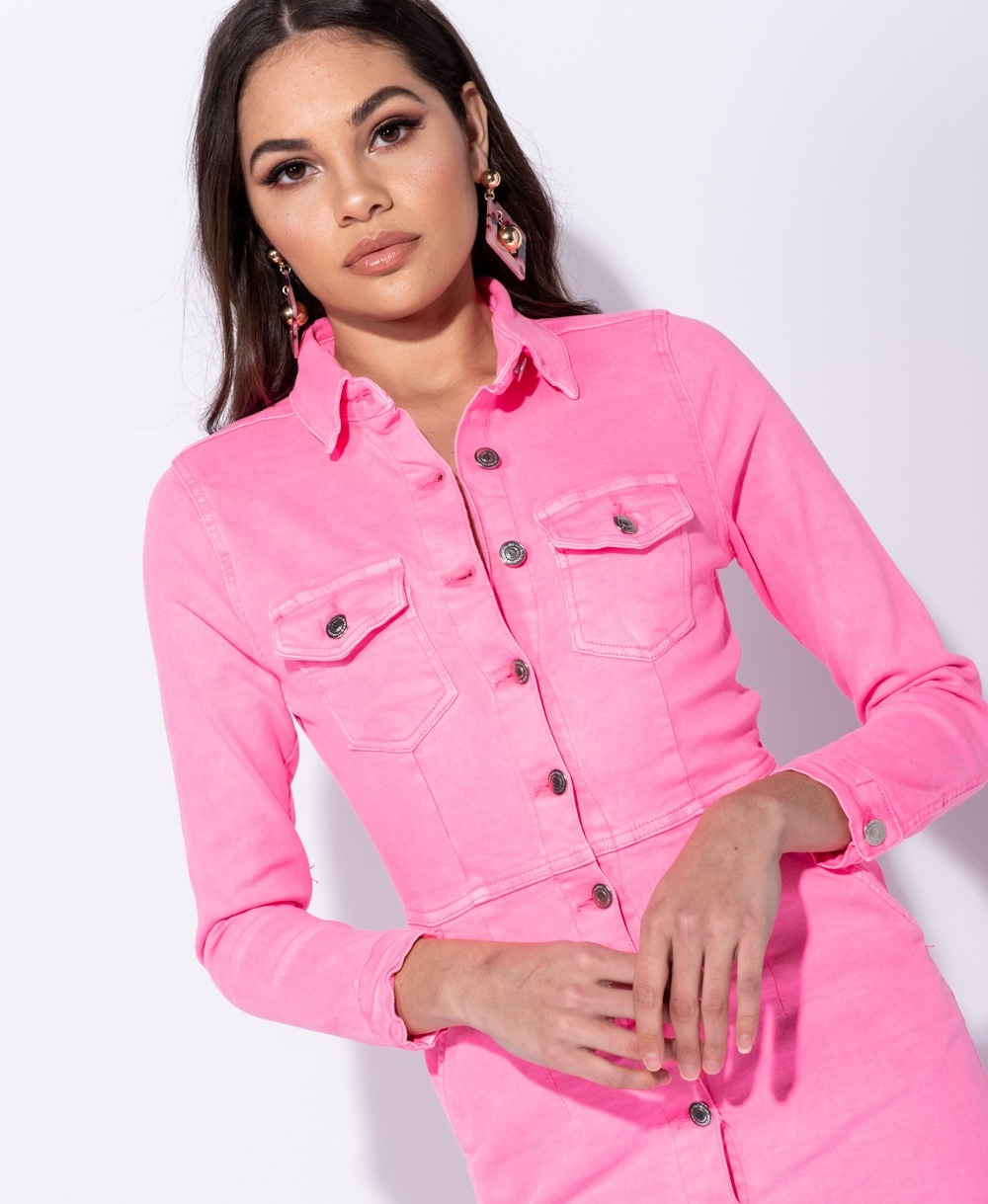 babf49441f2 Wholesale Button Up Front Pocket Detail Long Sleeve Denim Shirt ...