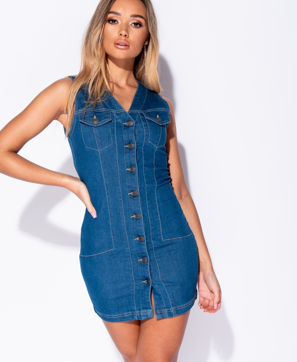 c36156eafe6 Wholesale Denim Button Up V Neck Sleeveless Shirt Dress