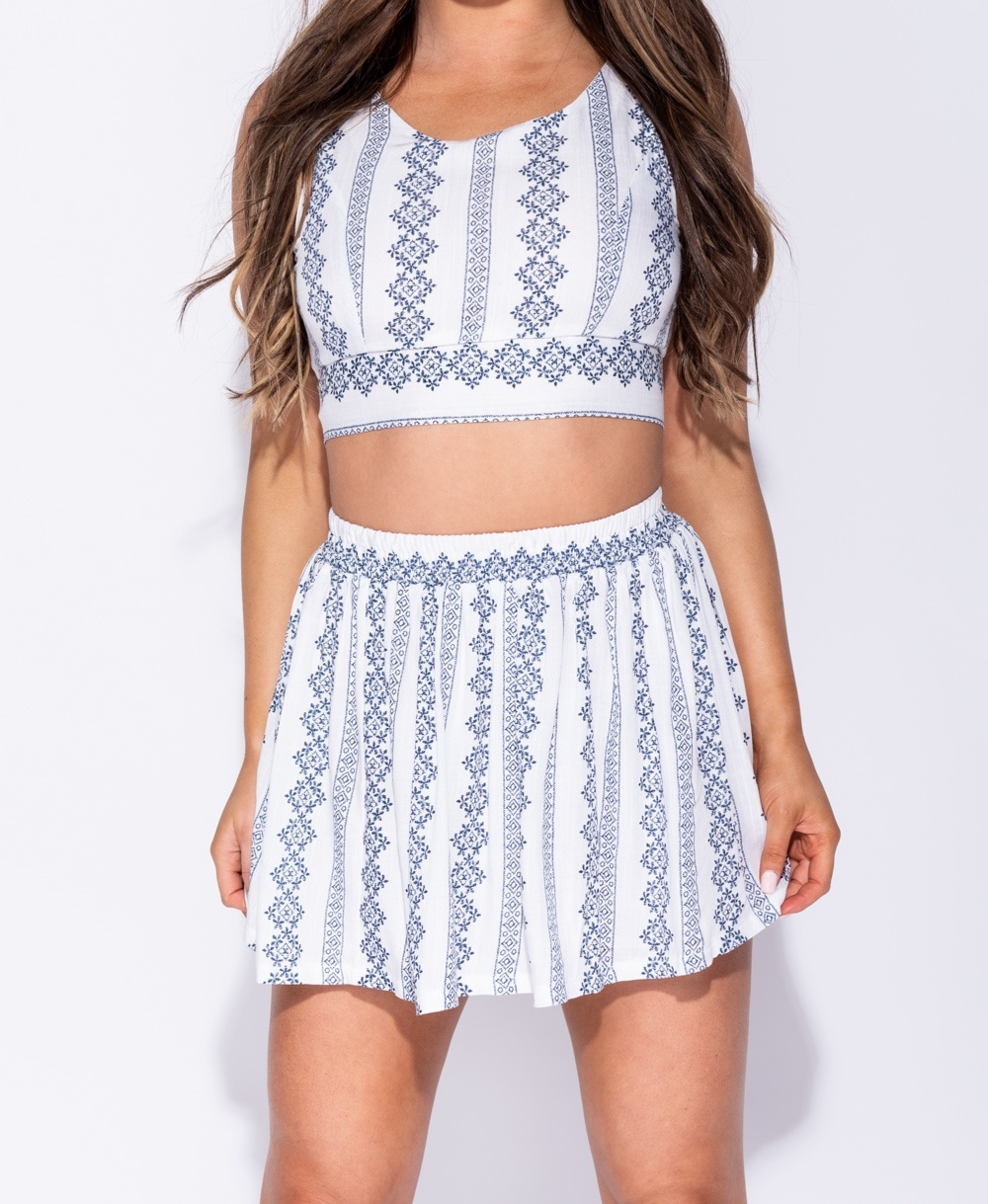 f82991dfb6 Wholesale Embroidery Detail Crop Top & Skater Skirt | Parisian