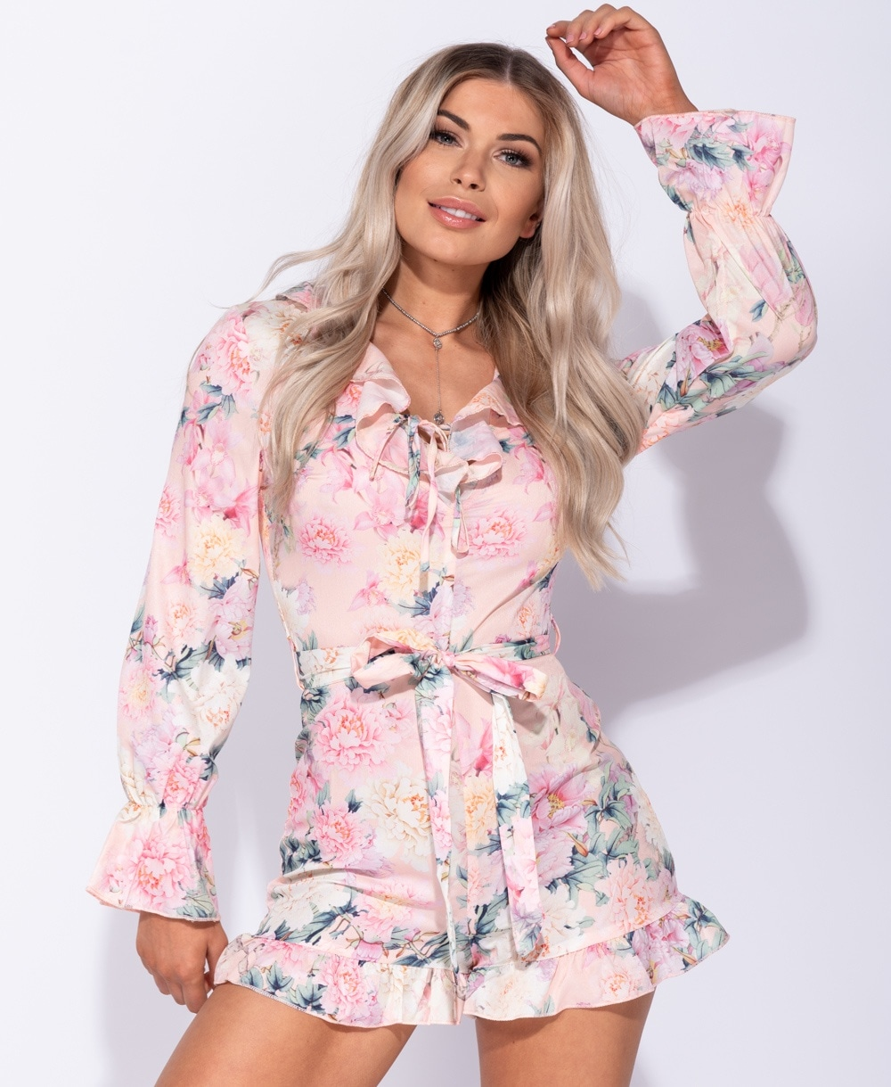 5210dee894 Wholesale Floral Frill Detail Long Sleeve Belted Playsuit