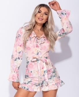 4fac40ade6dd Floral Frill Detail Long Sleeve Belted Playsuit