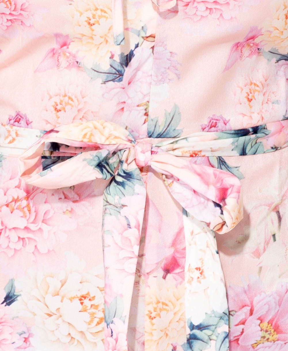 df227c796db Wholesale Floral Frill Detail Long Sleeve Belted Playsuit