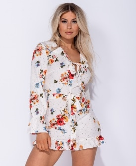 ca6ca7b779c6 Floral Polka Dot Frill Detail Tie Front Playsuit
