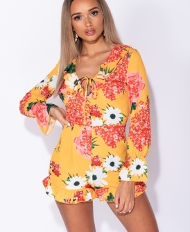 7deebace690b Floral Print Frill Detail Tie Front Playsuit