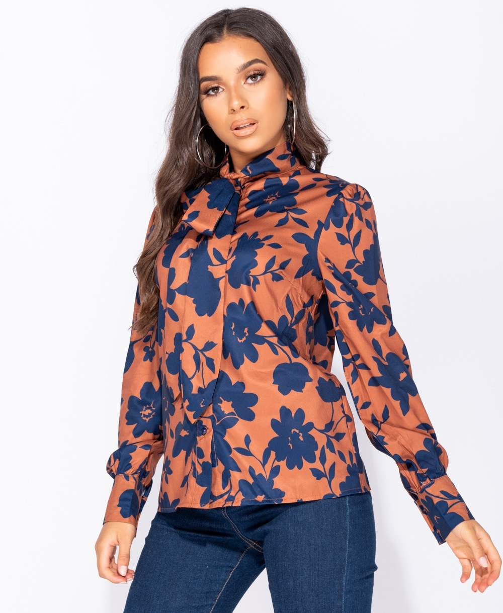 Coffee Abstract Print Satin Pussy Bow Long Sleeve Blouse