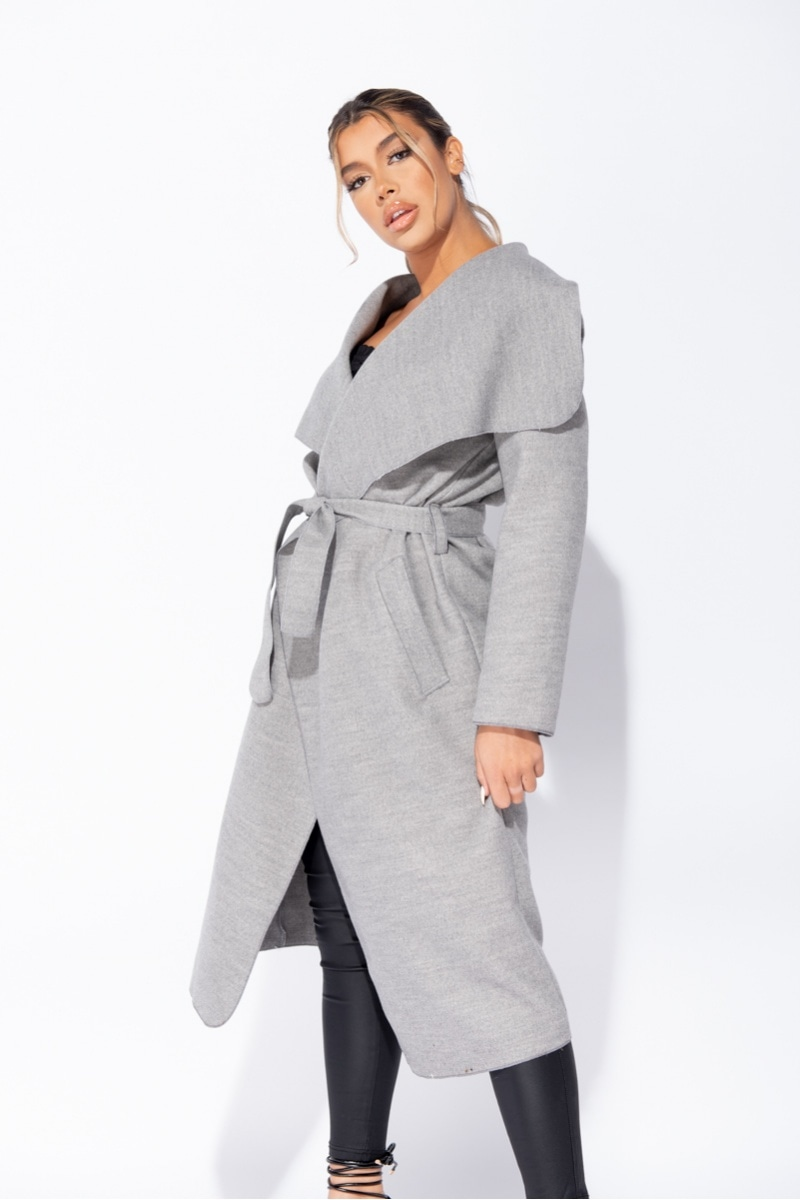 Grey Maxi Length Oversized Waterfall Belted Coat