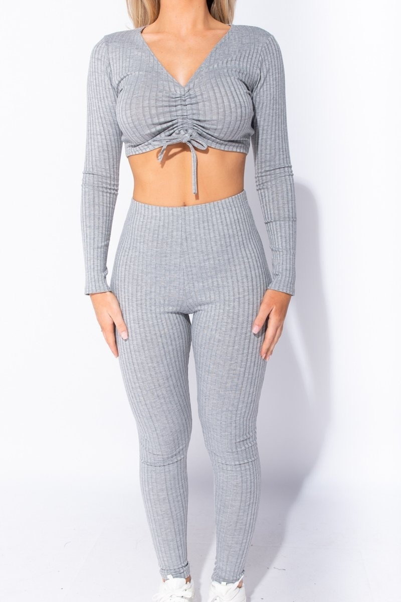 Wholesale Grey Rib Knit Ruched Front Long Sleeve Crop Top Leggings Lounge Set Parisian