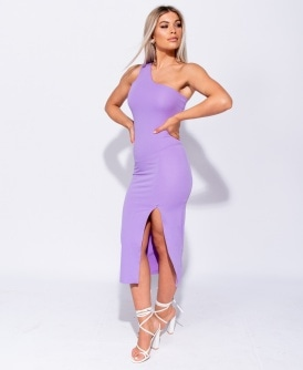f23ae72fc8 One Shoulder Thigh Split Bodycon Midi Dress
