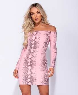 Snake Print Long Sleeve Bandeau Bodycon Dress 05a345e12