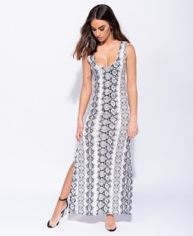 0ebc15fca3e Snake Print Thigh Split Scoop Neck Maxi Dress